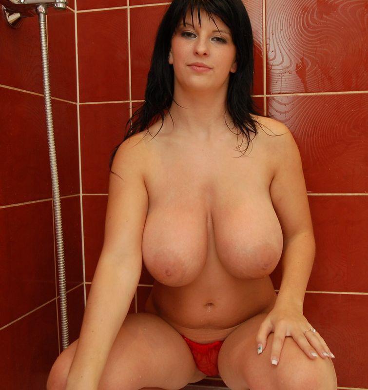 Polish centerfold ewa sonnet rubs her huge boobs